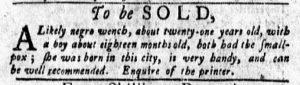 Nov 5 1770 - New-York Gazette and Weekly Mercury Supplement Slavery 3