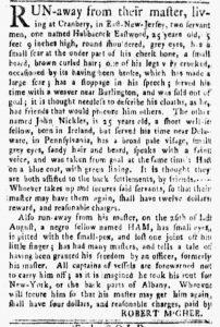 Nov 5 1770 - New-York Gazette and Weekly Mercury Supplement Slavery 7
