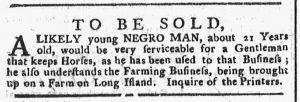 Nov 5 1770 - New-York Gazette or Weekly Post-Boy Slavery 2