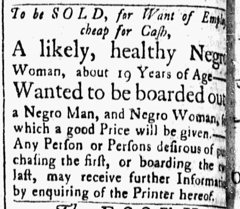 Nov 6 1770 - Essex Gazette Slavery 1