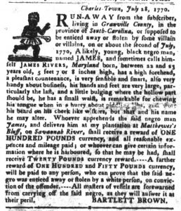 Nov 6 1770 - South-Carolina Gazette and Country Journal Slavery 1