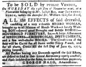 Nov 6 1770 - South-Carolina Gazette and Country Journal Slavery 11
