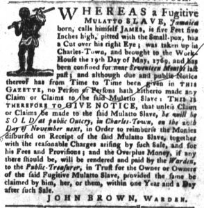 Nov 6 1770 - South-Carolina Gazette and Country Journal Slavery 3