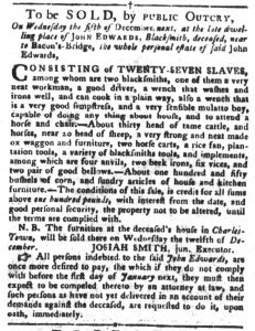 Nov 6 1770 - South-Carolina Gazette and Country Journal Slavery 5