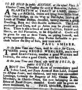 Nov 6 1770 - South-Carolina Gazette and Country Journal Slavery 6