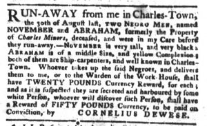 Nov 6 1770 - South-Carolina Gazette and Country Journal Slavery 7