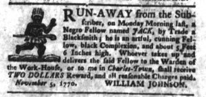 Nov 6 1770 - South-Carolina Gazette and Country Journal Slavery 8