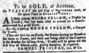 Nov 6 1770 - South-Carolina Gazette and Country Journal Slavery 9