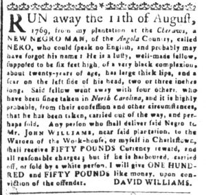 Nov 6 1770 - South-Carolina and American General Gazette Slavery 2