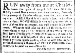 Nov 6 1770 - South-Carolina and American General Gazette Slavery 6