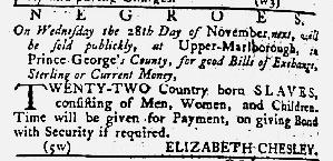 Nov 8 1770 - Maryland Gazette Slavery 1