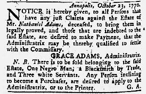 Nov 8 1770 - Maryland Gazette Slavery 2