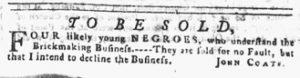 Nov 8 1770 - Pennsylvania Gazette Slavery 1