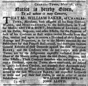 Nov 8 1770 - South-Carolina Gazette Slavery 10