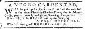 Nov 8 1770 - South-Carolina Gazette Slavery 2