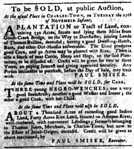 Nov 8 1770 - South-Carolina Gazette Slavery 5