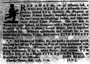 Nov 8 1770 - South-Carolina Gazette Slavery 7