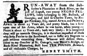 Nov 8 1770 - South-Carolina Gazette Slavery 9