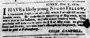 Nov 8 1770 - Virginia Gazette Purdie & Dixon Slavery 1