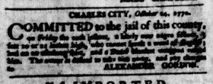 Nov 8 1770 - Virginia Gazette Purdie & Dixon Slavery 12
