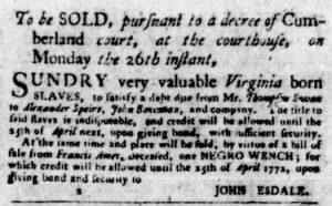 Nov 8 1770 - Virginia Gazette Purdie & Dixon Slavery 3