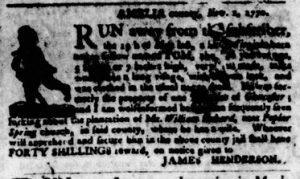 Nov 8 1770 - Virginia Gazette Purdie & Dixon Slavery 8