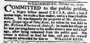Nov 8 1770 - Virginia Gazette Rind Slavery 12