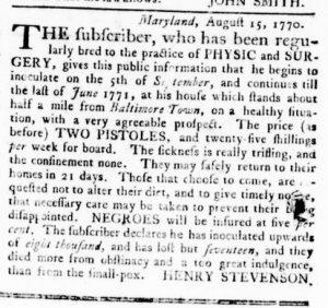 Nov 8 1770 - Virginia Gazette Rind Slavery 14