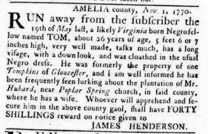 Nov 8 1770 - Virginia Gazette Rind Slavery 5