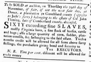 Nov 8 1770 - Virginia Gazette Rind Slavery 8