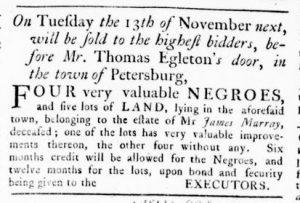 Nov 8 1770 - Virginia Gazette Rind Slavery 9