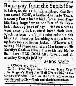 Nov 9 1770 - New-London Gazette Slavery 1
