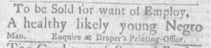 Oct 18 1770 - Massachusetts Gazette and Boston Weekly News-Letter Slavery 1