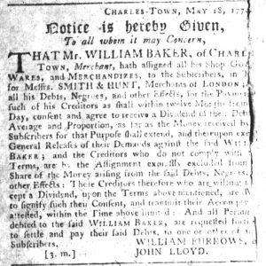 Oct 18 1770 - South-Carolina Gazette Slavery 2