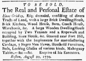Oct 22 1770 - Boston Evening-Post Slavery 1