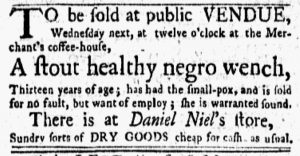 Oct 22 1770 - New-York Gazette and Weekly Mercury Slavery 2