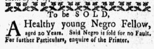 Oct 22 1770 - New-York Gazette and Weekly Mercury Slavery 3