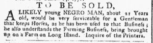 Oct 22 1770 - New-York Gazette or Weekly Post-Boy Slavery 1
