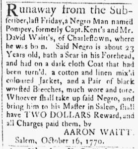 Oct 23 1770 - Essex Gazette Slavery 1
