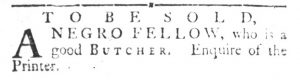 Oct 23 1770 - South-Carolina Gazette and Country Journal Slavery 1