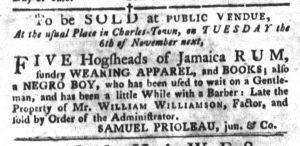 Oct 23 1770 - South-Carolina Gazette and Country Journal Slavery 10
