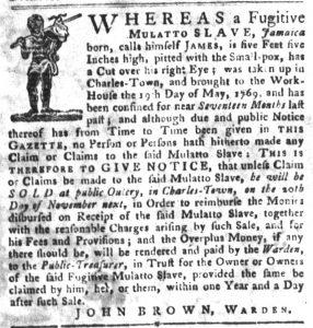 Oct 23 1770 - South-Carolina Gazette and Country Journal Slavery 12