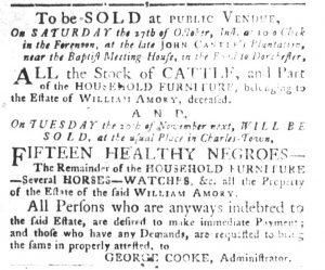 Oct 23 1770 - South-Carolina Gazette and Country Journal Slavery 14