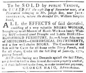 Oct 23 1770 - South-Carolina Gazette and Country Journal Slavery 2