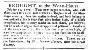 Oct 23 1770 - South-Carolina Gazette and Country Journal Slavery 3