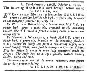 Oct 23 1770 - South-Carolina Gazette and Country Journal Slavery 4