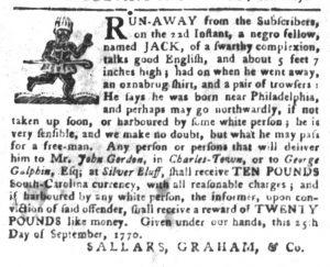 Oct 23 1770 - South-Carolina Gazette and Country Journal Slavery 5