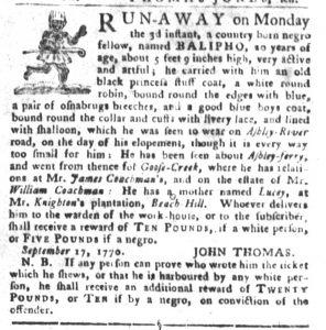 Oct 23 1770 - South-Carolina Gazette and Country Journal Slavery 6