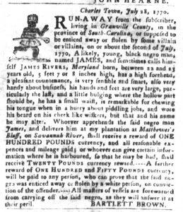 Oct 23 1770 - South-Carolina Gazette and Country Journal Slavery 9