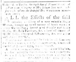 Oct 23 1770 - South-Carolina and American General Gazette Slavery 2